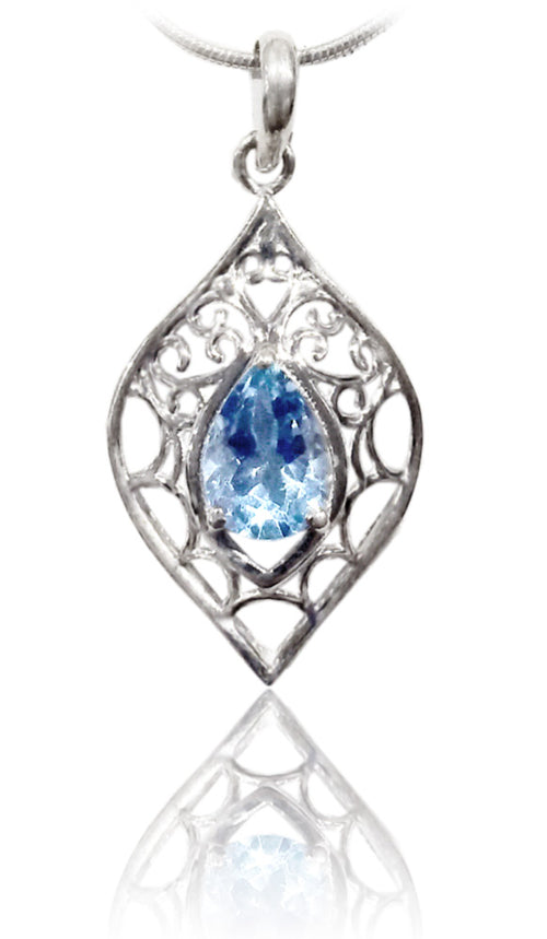 Arabesque Teardrop Stone Pendant