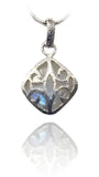 Diagonal Arabesque Pendant White Moontone