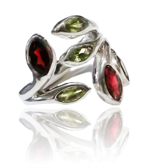 Multi Stone Leaf Ring