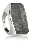 Brazilian Rough Cut Cocktail Ring Black Rutile Quartz