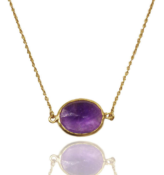18k Gold Plated River Rock Necklace Amethyst