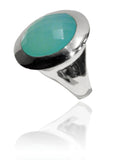 Small Italian Full Faceted Circle Ring with Simple Band Aqua Chalcedony
