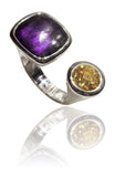 Mexico City Art Deco Ring Amethyst and Citrine