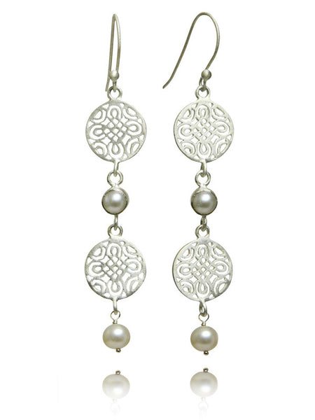 Double Arabesque Disc Pearl Drop