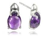 Large Khepri Scarab Stone Beetle Earrings (Amethyst)