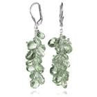 Short Stone Cluster Earrings Green Amethyst