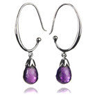 Jaipuri Circular Gemstone Drop Earrings (Amethyst)
