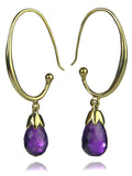 Jaipuri Circular Gemstone Drop Earrings (Gold Plated Amethyst)