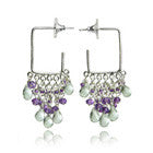 ITALIAN QUADRATO CLUSTER EARRINGS (GREEN AMETHYST/AMETHYST)