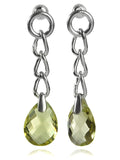 Capri Four Link Earrings with Faceted Stone- Lemon Topaz
