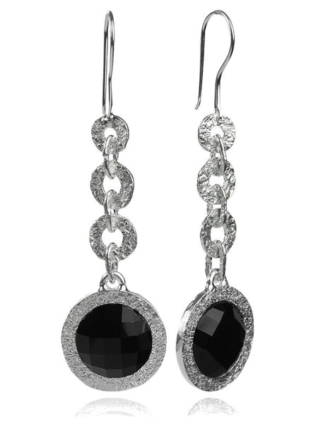 Hammered Six Link Disc Stone Earring (Black Onyx)