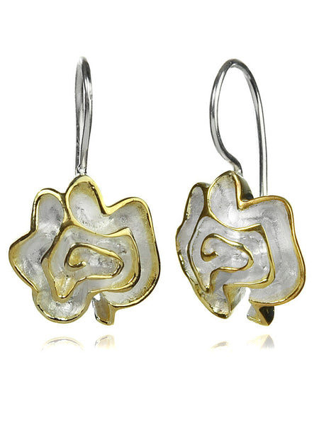 18K Gold Plated and Silver Barcelona Flower Earrings
