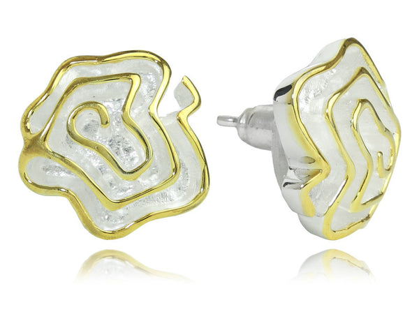 18K Gold Plated and Silver Spanish Barcelona Flower Stud Earrings