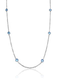 Tiny Kathak 8 Stone Necklace Blue Chalcedony