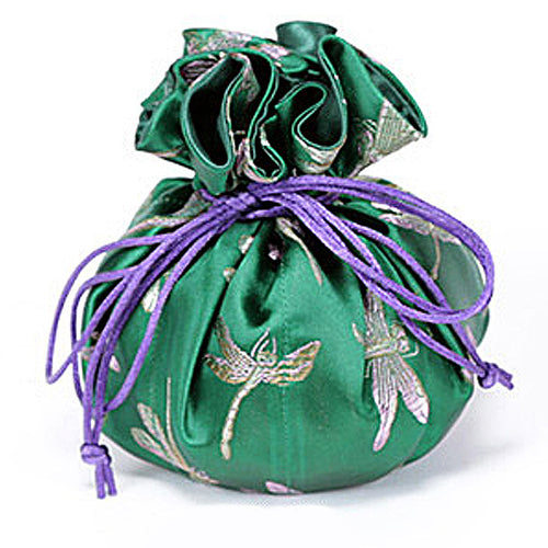Jewelry Pouch Dark Green Dragonfly