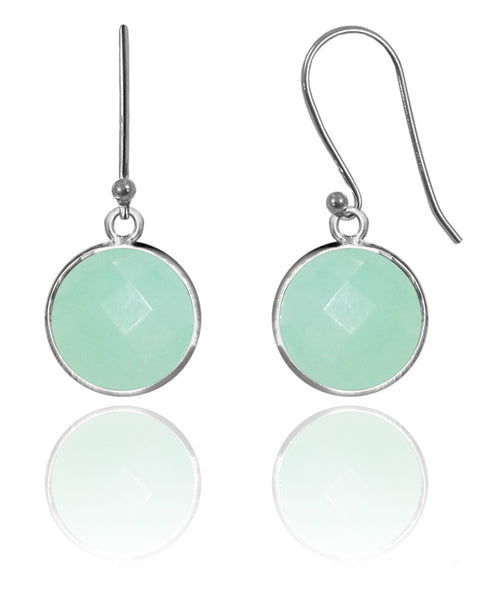 Medium Hanging Puntino Earrings Aqua Chalcedony
