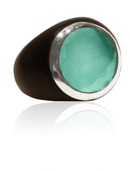 Mexican Art Deco Ebony Cocktail Ring Aqua Chalcedony