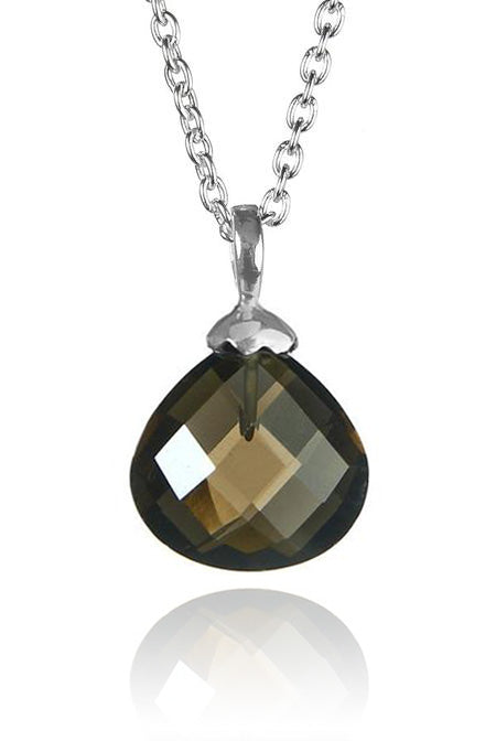 Jaipuri Quartz Drop Pendant with Chain Smokey Quartz
