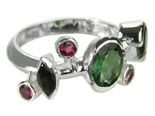 Six Stone Single Line Ring Mixed Tourmaline