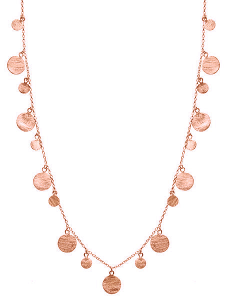 Rose Gold Plated Art Deco Necklace with Brushed Discs
