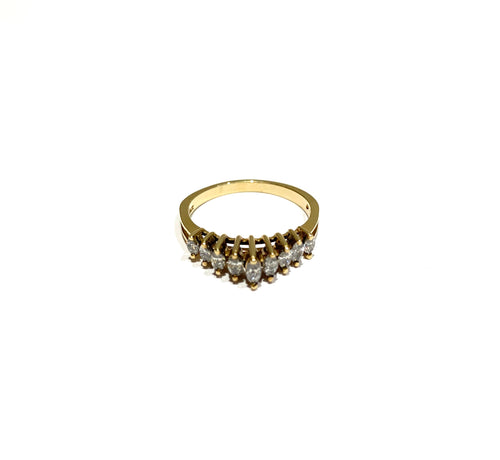 10k Gold Graduating Marquee Diamond Ring Size 7