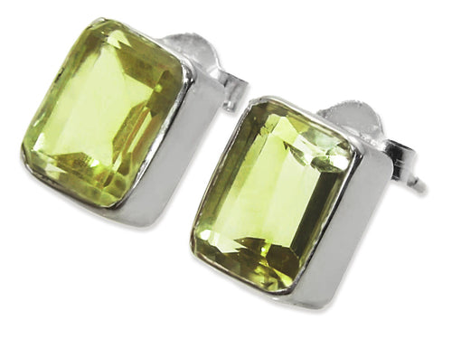 Small Square Gemstone Studs Lemon Topaz