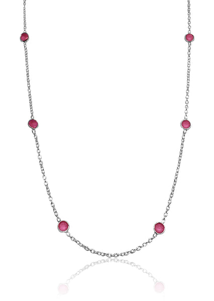 Tiny Kathak 8 Stone Necklace Rough Cut Ruby