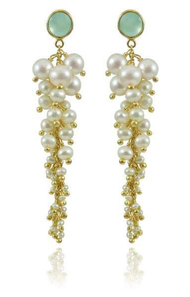 Italian Cascade Cluster Pearl Earrings Aqua Chalcedony