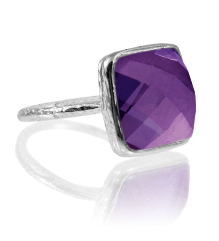 Italian Faceted Cocktail Ring with Open Side Amethyst