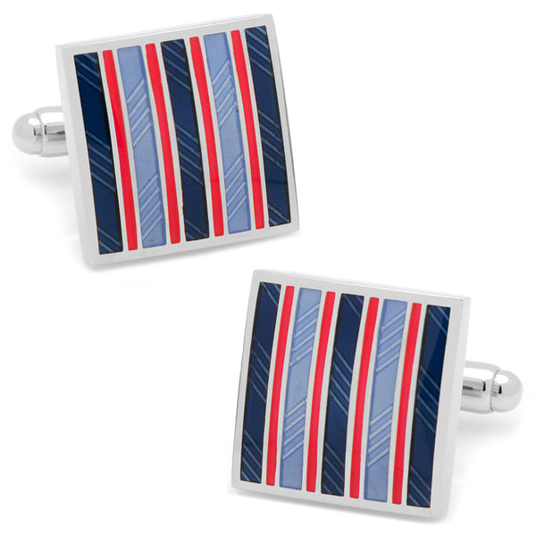 Red and Navy Striped Square Cufflinks