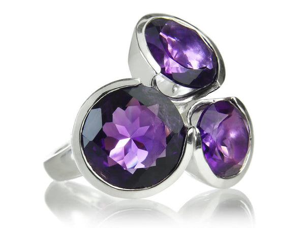 Three Circle Cluster Cocktail Ring Amethyst