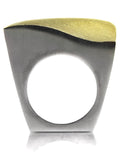 18K Gold Plated/Silver Bilbao Curved Square Ring