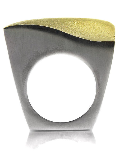 Bilbao Curved Square Ring (Silver and Gold Plated)