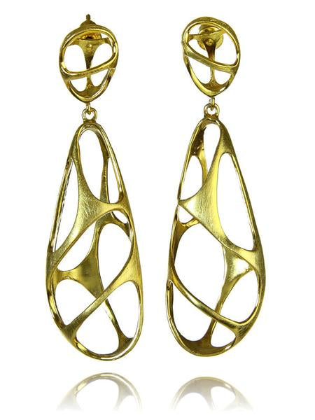 18K Gold Plated Brushed Bilbao Sculptured Drops