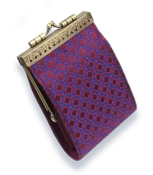 Card Holder Purple and Blue Checkers