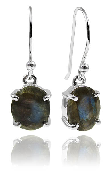 Da Vinci Four Prong Oval Earrings Labradorite