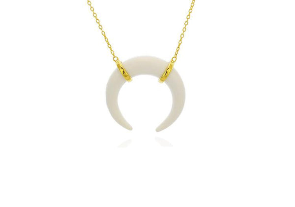 White Double Horn Necklace