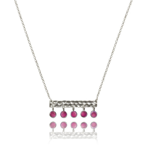 5 Stone Bavaria Bar Necklace Rough Cut Ruby