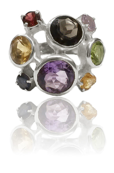 Eight Stone Free Style Bubble Ring Mixed Stones