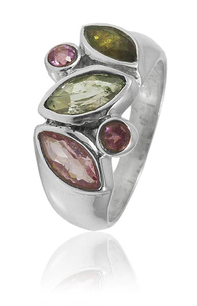 5 Stone Cluster Ring Mixed Tourmaline Size 7.5