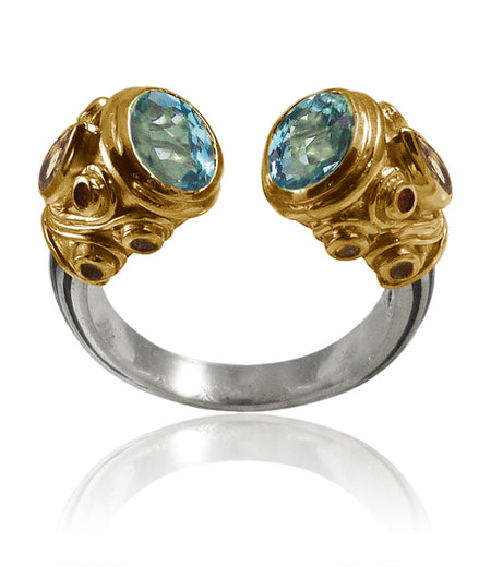 Charmed Snake Ring Blue Topaz