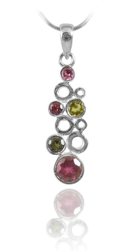 10 Stone Cluster Ring Mixed Tourmaline Size 6