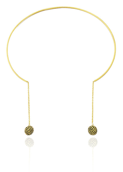 18k Gold Plated Non-Connect Gaudi Spheres Collar