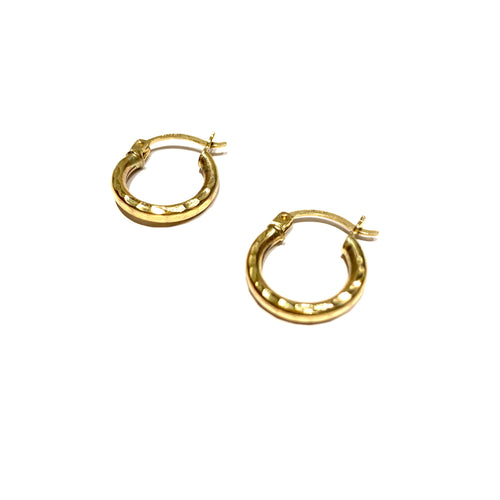 10k Gold Hammered Mini Hoops