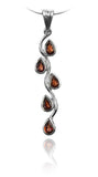 Vertical Five Stone Leaf Drop Pendant Garnet