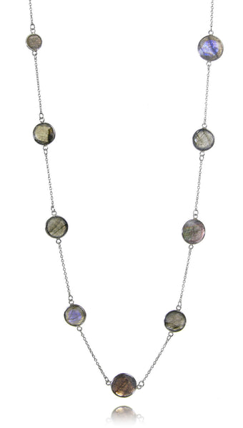 Faceted 17 Stone Capri Long Necklace Labradorite