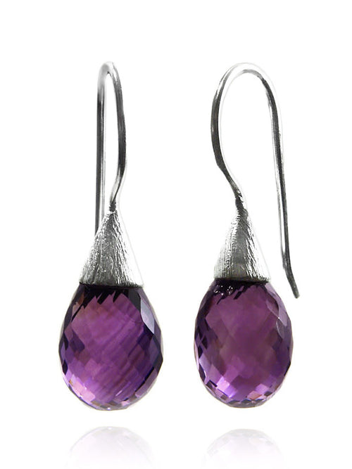 Small Quartz with Brushed Top Earrings Amethyst