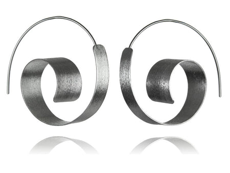 Brushed Silver Swirly Earrings