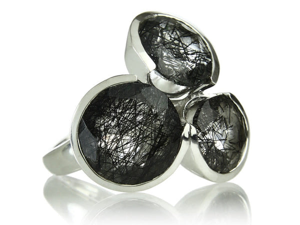 Three Circle Cluster Cocktail Ring Black Rutile Quartz