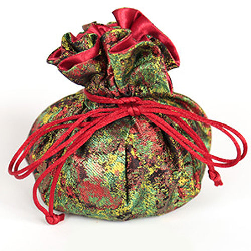 Jewelry Pouch Floral: Green and Red
